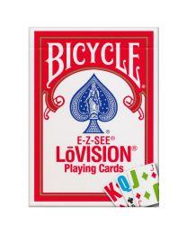 Bicycle E-Z-SEE LōVision speelkaarten rood