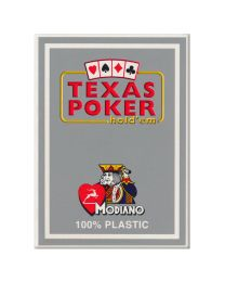 Plastic speelkaarten Modiano Texas poker grijs
