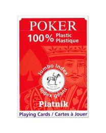 Plastic Poker Speelkaarten Piatnik Jumbo Index Rood