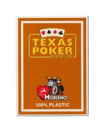 Plastic speelkaarten Modiano Texas poker bruin