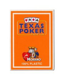 Plastic speelkaarten Modiano Texas poker oranje
