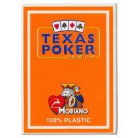 Plastic speelkaarten Modiano Texas poker oranje