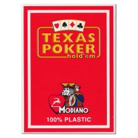 Plastic speelkaarten Modiano Texas poker rood